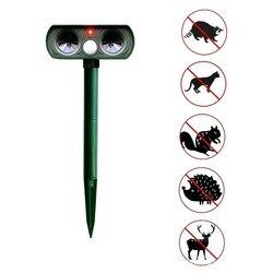 Energía Solar ultrasonidos ahuyentadores perro gato pájaro jabalí ratón Mosquito recargable ahuyentador Animal mosca trampa jardín