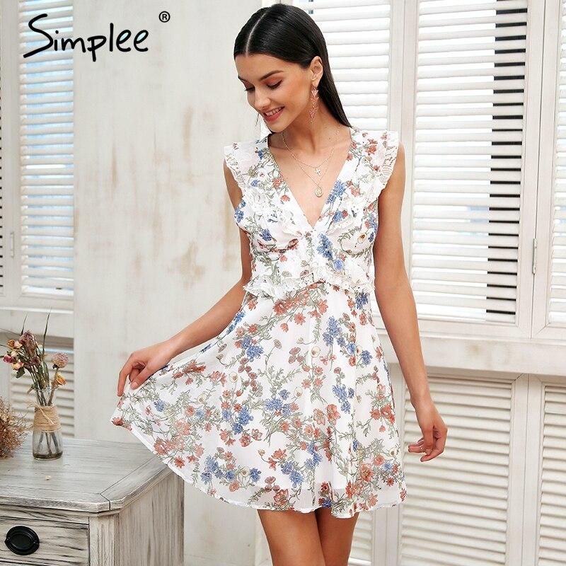 Simplee Ruffle sleeveless summer dress Women backless strap floral print sexy dress 2018 Casual short bohemian dress vestidos