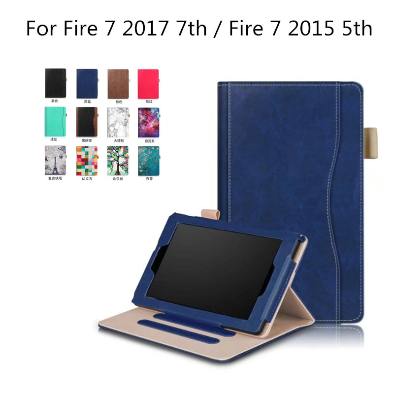 For Amazon new Fire 7 2017  7 generation PU Leather Smart Case  Cover For kindle fire 7 2015 5th 7 inch Tablet Hand Strap Cases for amazon new kindle fire 7 2015 case 3 fold flip cover for tablet leather fundas shell stylus