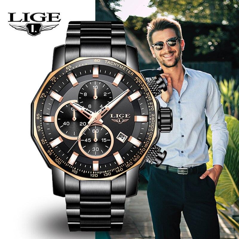 LIGE Men s Watches Top Brand Luxury Fashion Military Sports Watch Men Stainless Steel Quartz Chronograph
