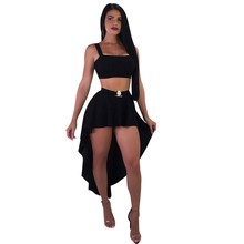Sexy 2 piece set women suit Strap crop top skirt set club irregular short front long back tail skirt outfit female two piece set