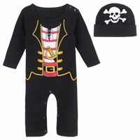 Newborn Baby Boy Pirate Costume Romper Infant Long Sleeved Playsuit Cute With Hat 0 24 Months