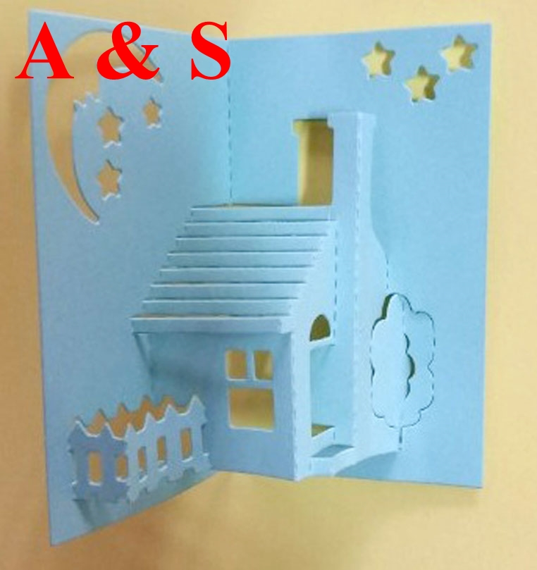Q61 Metal cutting dies 3D stereo house lovely family moon star Scrapbook card paper craft home decoration embossing stencils cut