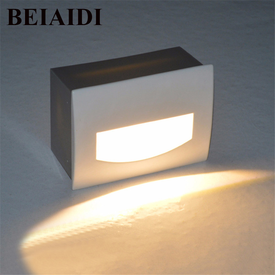 BEIAIDI 3W 5W Waterproof LED Stair Light Aluminum Recessed Led Step Light Outdoor Wall Mounted Background Light Step Aisle Lamp 86 style stair 3w led holding down led stairs light led wall light 2years warranty 120 130lm led step light