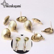 Серьги пусеты в виде раковины золотые из цинкового сплава коннектор