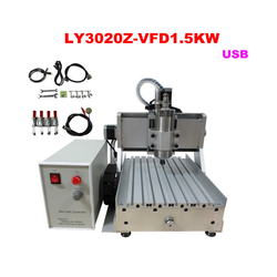 USB Port 1500w mini cnc router 3020 Z-VFD 4 axis milling machine with ball screw for wood, metal, aluminum