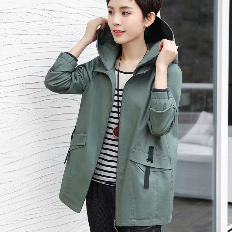 2018 spring   basic     jackets   for women cotton plus size hooded autumn coat women zipper solid color outerwear female short   jacket