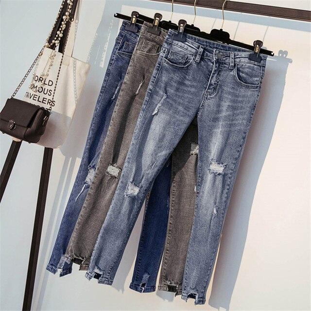 db8cfa63db5 JUJULAND New Ultra Stretchy Blue Tassel Ripped Jeans Woman Denim Pants  Trousers For Women Pencil Skinny
