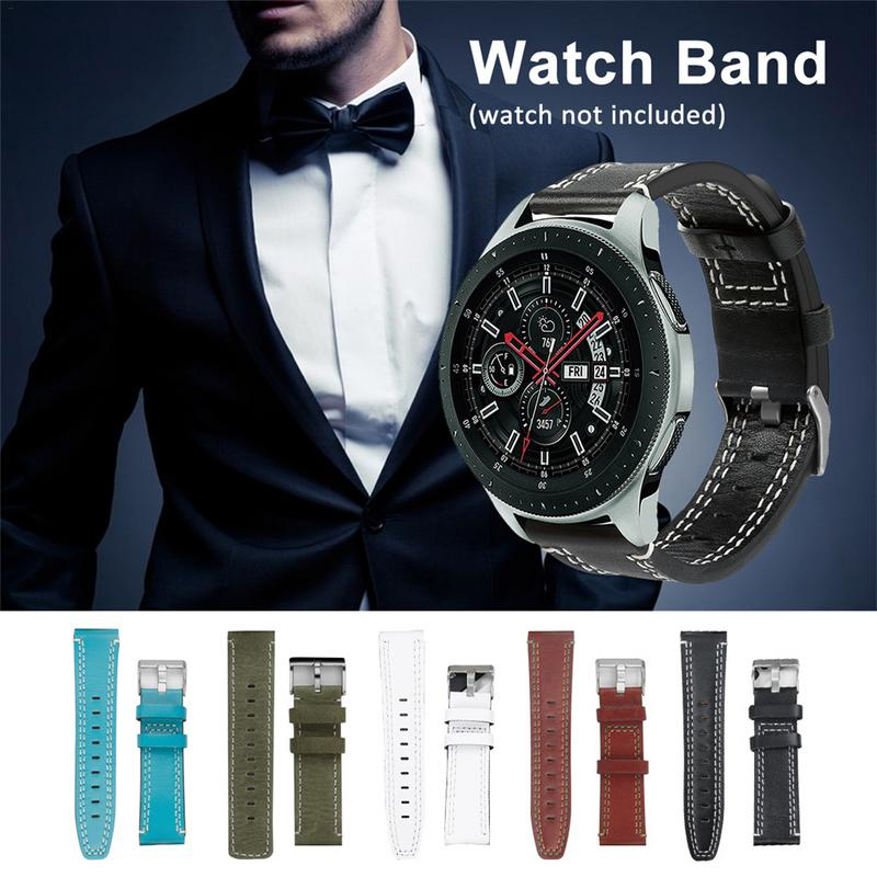New Leather Watchband Watch Strap for Samsung Galaxy Watch 46mm SM-R800 Version Replacement Bracelet Strap Band