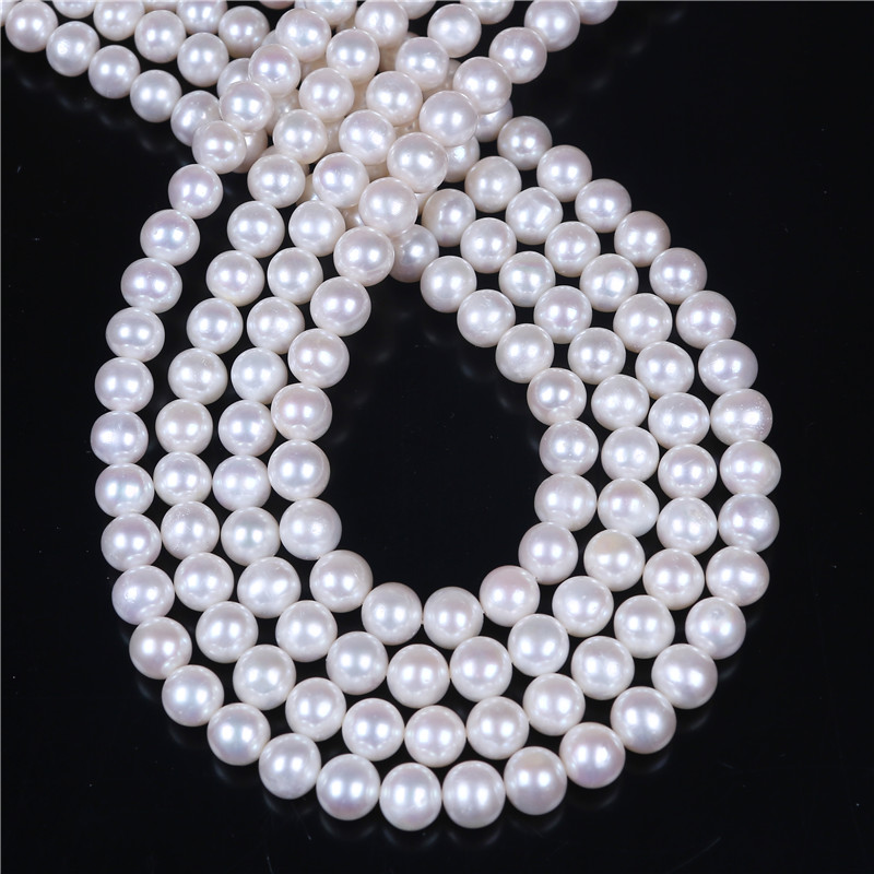 DIY AA Wholesale White Freshwater Potato Near Round Oval Pearl 8-9mm Loose Beads 16 For Jewelry MakingDIY AA Wholesale White Freshwater Potato Near Round Oval Pearl 8-9mm Loose Beads 16 For Jewelry Making