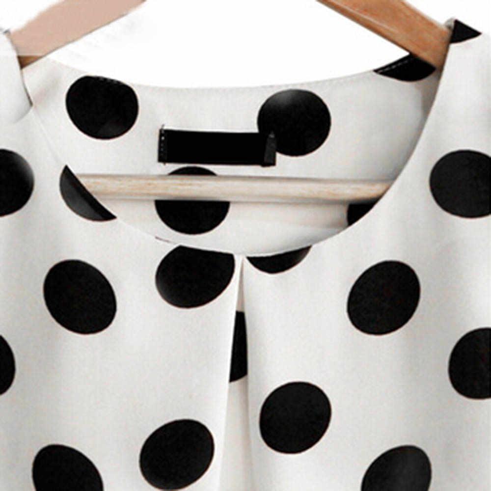 موضة فتاة النقاط بلوزة المرأة عادية الشيفون قميص أكمام كشكش كم قميص الصيف بلايز أسود أبيض