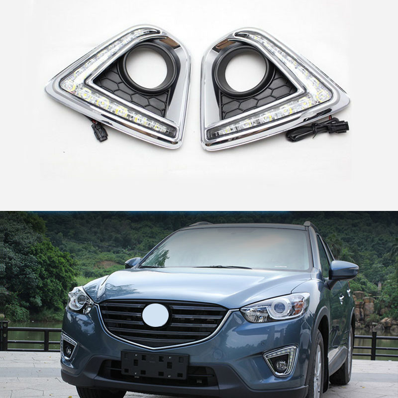 Turn Signal Light Lamp 12V CAR LED DRL daytime running light with fog lamp hole for MAZDA cx-5 cx5 2012 2013 2014 2015 led 12v turning signal light drl daytime running light for mazda 6 2013 2014 waterproof abs fog lamp decoration