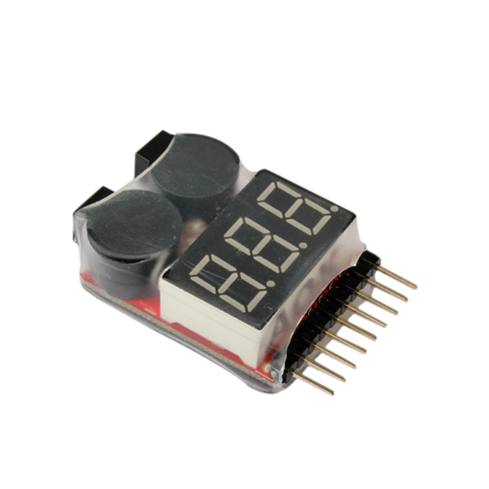 1-8S LED Lipo Voltage Indicator Checker Tester Low Voltage Buzzer Alarm @ZJF rc model 2s 3s 4s detect lipo battery low voltage alarm buzzer
