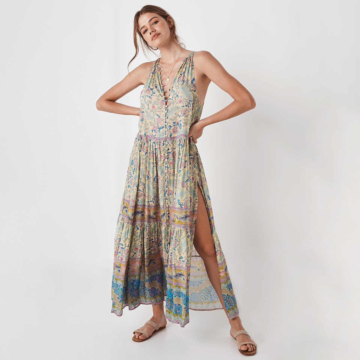 3090e5c623b6 ... Oasis Maxi Dress Button-up Front V-Neck Sleeveless Summer Dresses Gypsy  Style Floral ...
