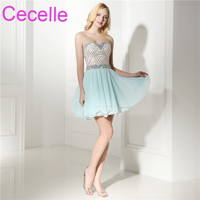 Mint Short Cocktail Dresses 2019 Sweetheart Above Knee Length Chiffon Beaded Top Juniors Informal Short Prom Gowns Real Photos