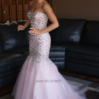 Pink Luxury Crystals Evening Dress Mermaid Long Elegant Prom Dresses Abendkleider 2017 Vestido Longo de Festa Arab Evening Gowns