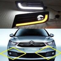 2Pcs 12V Car LED Daytime Running Lights DRL With Turning Lamp Fog Driving Light for Citroen C Quatre 2012 2014