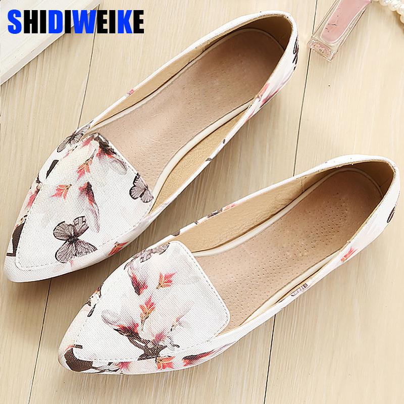 Shoes Woman Leather Loafers Ethnic Pointed Toe Causal Shoes Breathable Sewing Totem Flower Slip-on Shoes Plus Size 34-43 M953