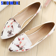 Shoes woman leather loafers ethnic pointed toe causal shoes