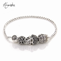 Thomas Bracelet With Zigzag Cross Hero Skull Bead 2015 TS Fine Jewelry Fashion Bracelet Gift For