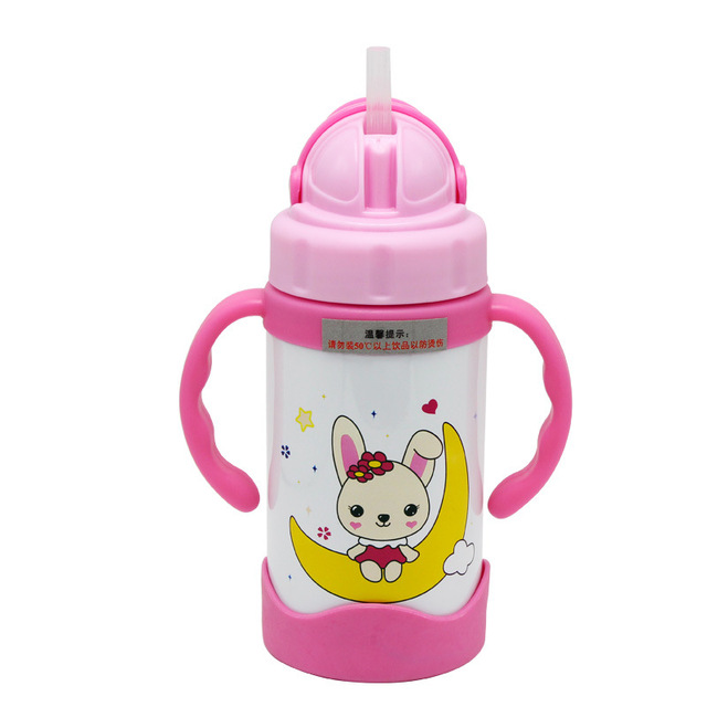 300ml brand cute baby out of the portable thermos feeding children learn to deal with straw children drinking juice suction cup