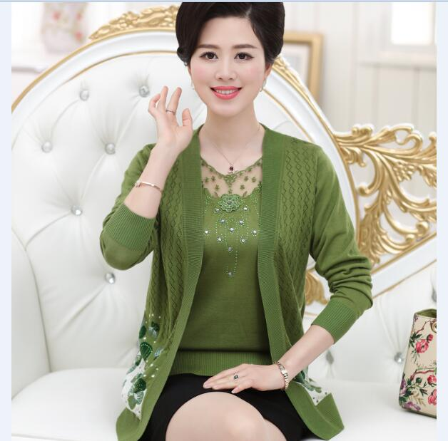 2016 New spring / autumn fashion lace embroidery ladys long sleeve twin set sweater cardigan