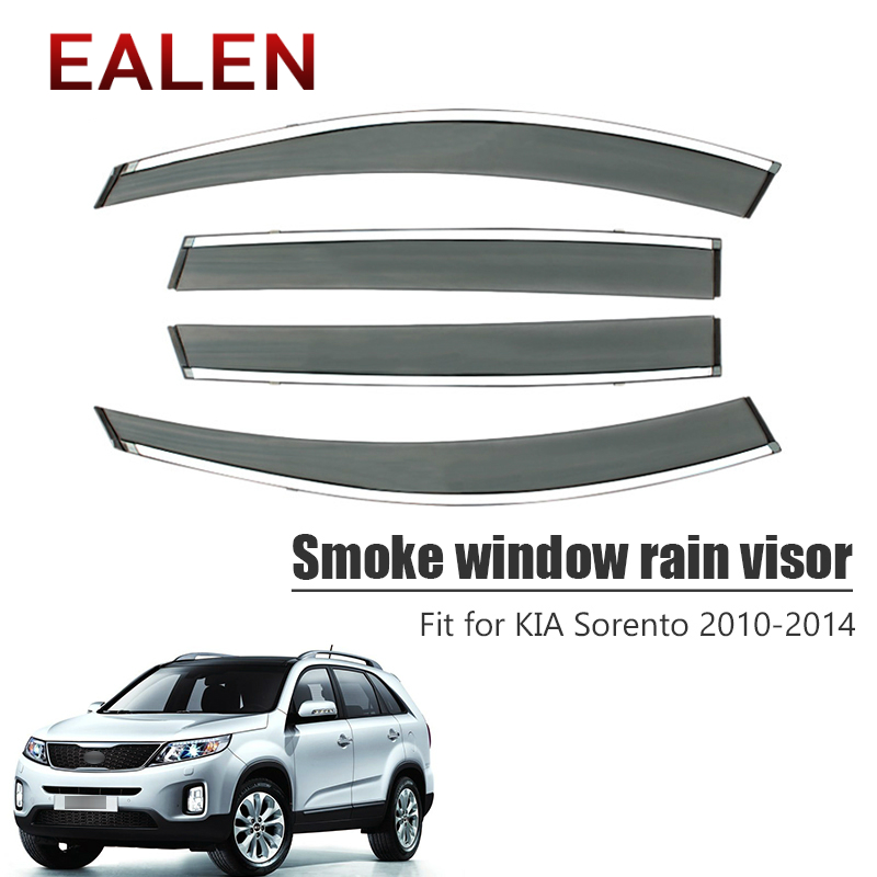 EALEN For Kia Sorento 2010 2011 2012 2013 2014 Styling Vent Sun Deflectors Guard Accessories 4pcs/1Set Smoke Window Rain Visor-in Awnings & Shelters from Automobiles & Motorcycles    1