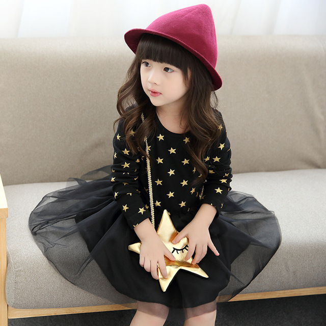 Girls Clothes 3-7T Girls Princess Dress 2017 Spring Autumn Korean Dresses Baby Kids Star Dress Children's Clothing Ball Gown