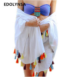 New arrivals beach cover up rayon swimwear with tassel pareos for women beachwear robe de plage.jpg 250x250
