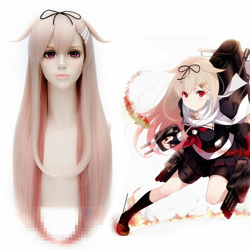 Japanese Game Kantai Collection Yuudachi Cosplay Wig Halloween Play Wig Party Stage Long Hair