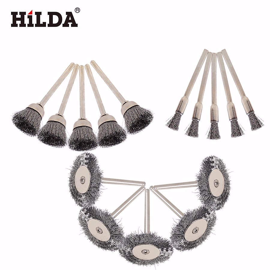 HILDA 15pcs Brush Set Steel Wire Wheel Burr Abrasive Head Deburring Drill Tools Wheel Dremel Wire For Dremel Tools Accessories durable steel rod brass wire brush handle grinder deburring for wood steels root polished 8 in 1 copper wire wheel