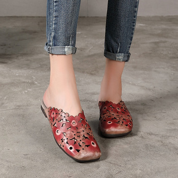 Johnature Genuine Leather Slides Floral Summer Outside Slippers Flat With Totem Simple Comfortable Hollow Women Shoes 3