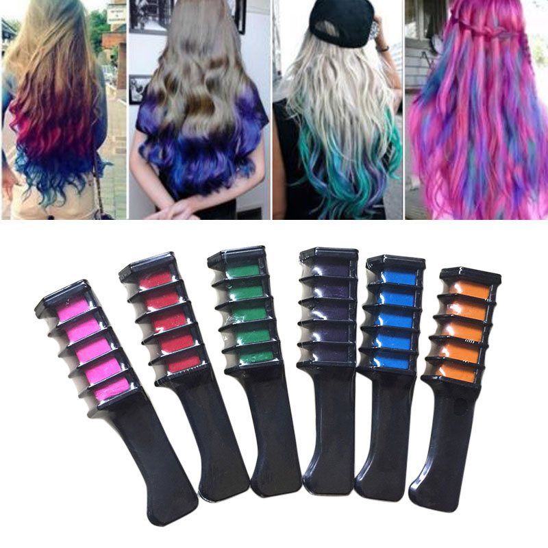 6 pcsset temporary hair chalk color comb dye kits disposable cosplay party hairs dyeing