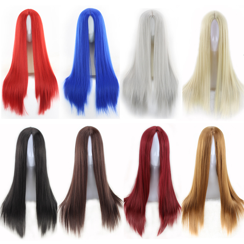 Fashion Cheap Straight  Long Black Wig Synthetic Middle Part Anime Cosplay Red Blue Black Silver White Brown Hair Wigs For Women