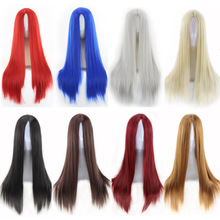 Fashion Cheap Straight  Long Black Wig Synthetic Middle Part Anime Cosplay Red Blue Black Silver White Brown Hair Wigs For Women цена