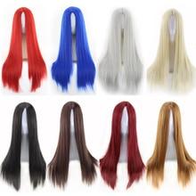цены на Fashion Cheap Straight  Long Black Wig Synthetic Middle Part Anime Cosplay Red Blue Black Silver White Brown Hair Wigs For Women  в интернет-магазинах