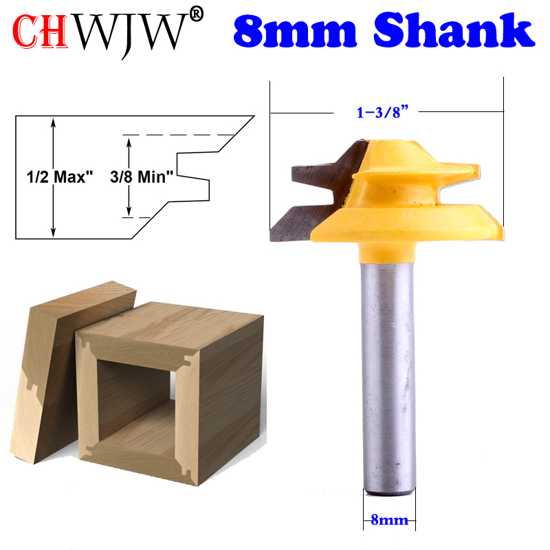 45 Degree 1//4/'/' Shank 1-1//2/'/' Small Lock Miter Router Bit Tenon Cutter Tools 1PC