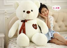 large 140cm white teddy bear plush toy silk belt love heart bear doll soft hug pillow,Valentine's Day,Xmas gift c608