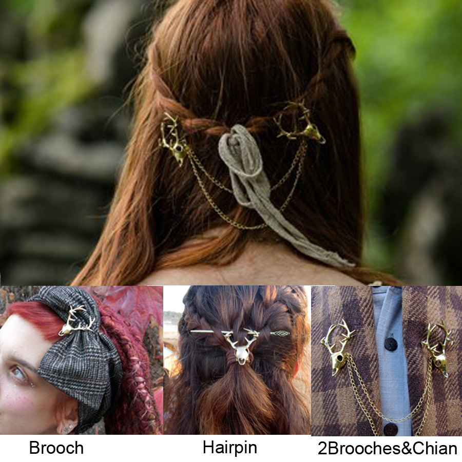 Viking Pagan Wiccan Stag Skull Brooch Stag Skull Pin Hair Accessorie Stag Collar Brooch Rustic Chic Accessories Costume