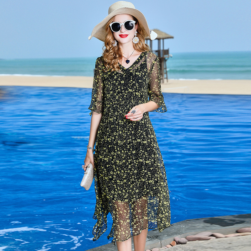 floral silk dress 2019 spring summer plus size beach casual bohemian long chiffon dresses for women black flower slim fit