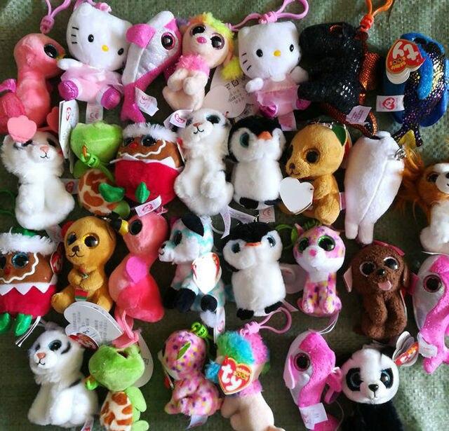 724e8a63fcb 10pcs lot TY Beanie Boos Plush Keychain Toys Babies Big Eyes Rabbit Dog  Dragon Leopard