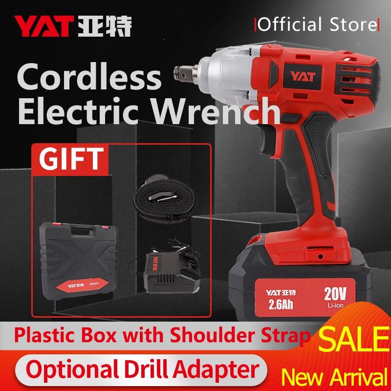 YAT Electric Wrench 20V Impact Wrench Socket 6000mAh Li Battery Hand Drill Installation Power Tools