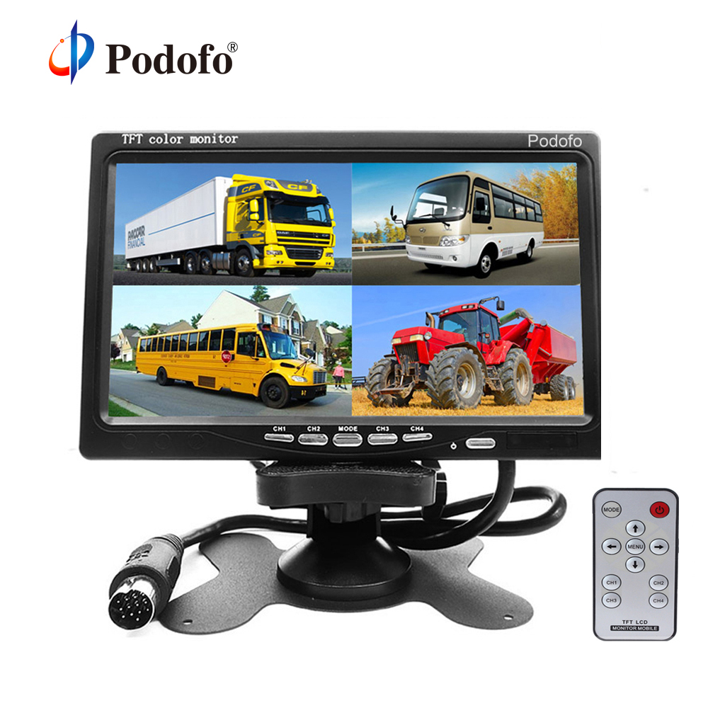 Podofo 7 Split Quad Monitor TFT LCD Monitor Video Input PC Audio Video Display Front Rear