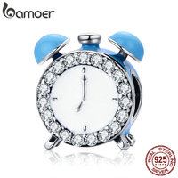 BAMOER Authentic 100 925 Sterling Silver Happy Time Clock Hour Bell Charm Beads Fit Bracelet Necklaces