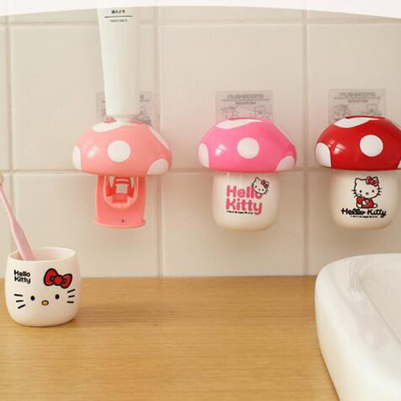 Cartoon Mushroom Automatic Toothpaste Dispenser Squeezing Device Toothbrush Holder with Cup Bathroom Accessories Set 8B