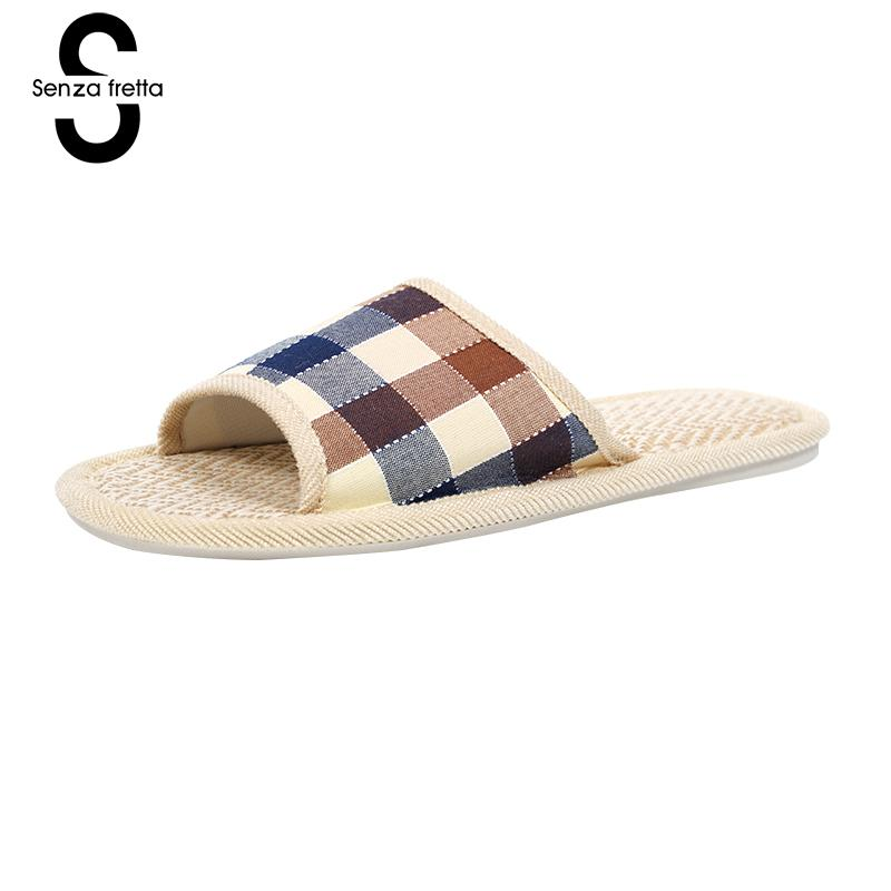 Senza Fretta Autumn Men Shoes Home Soft Slippers Plaid Linen Warm Slippers Indoor Bedroom Slippers Couple Floor Warm Shoes Men senza fretta men shoes home linen slippers couple flat slippers hemp simple breathable soft floor slippers men slippers big size
