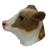 Halloween Cosplay Party Fancy Dress Realistic Cow Mask Bull Head Animal