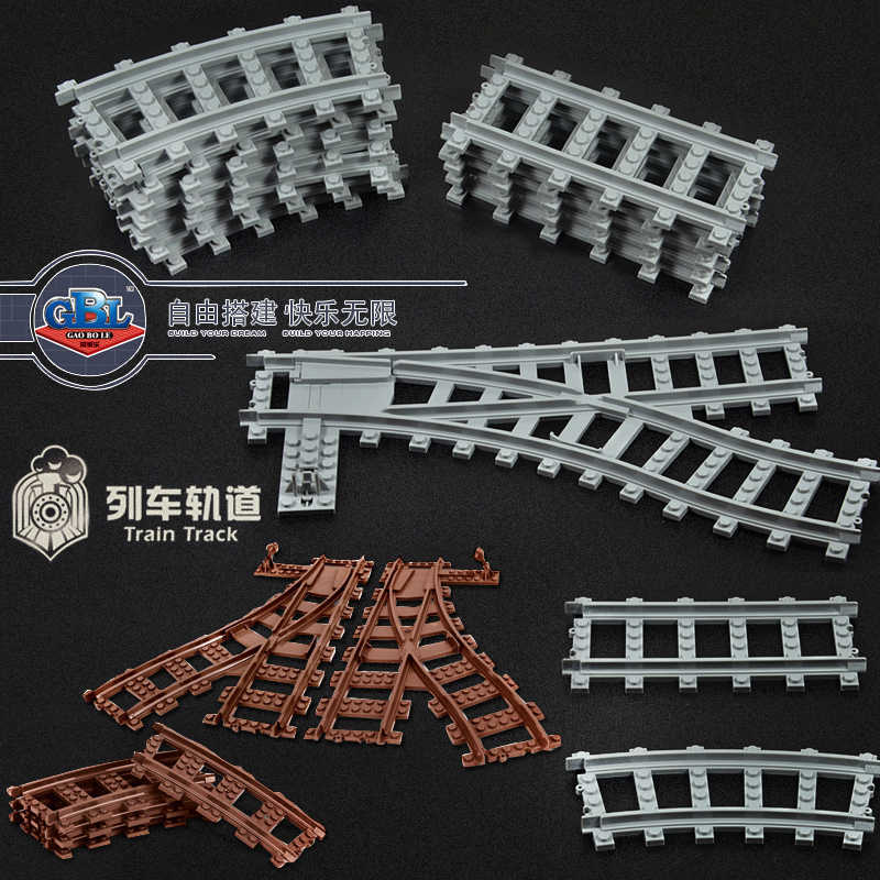 Ausini Flexible City Compatible legoed Trains Rail Track Railway model sets Forked Straight Curved Building Blocks Brick Toy