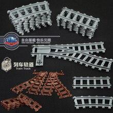 Ausini Esnek Şehir için Uyumlu Lego Tren Demiryolu Parça Demiryolu model setleri Çatal Düz Kavisli Yapı Taşları Tuğla Oyuncak
