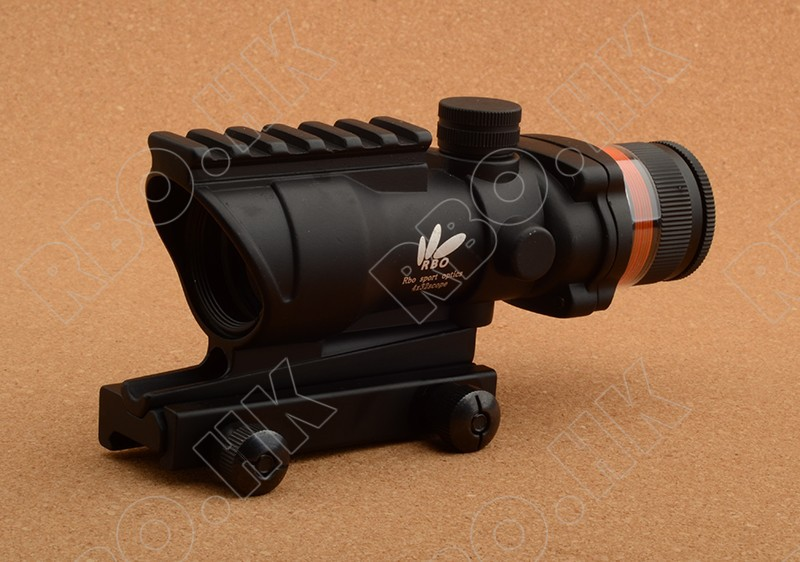 Tactical acog style prism optics red fiber 4x32 rifle scope with picatinny rail mount base M1543